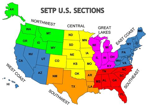 Map of SETP U.S. Sections | SETP Sections