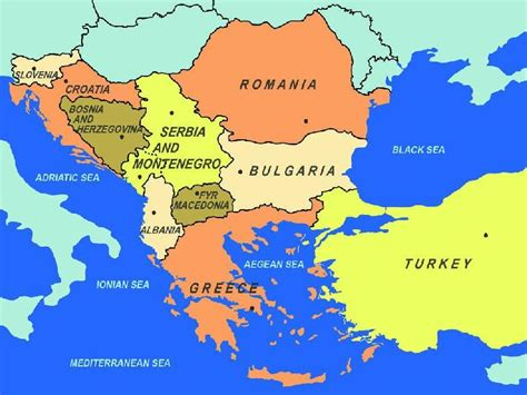 Map of southeastern Europe, including area to the east of ...