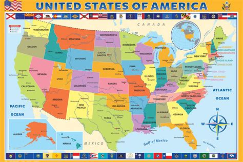 Map of the United States of America - Athena Posters