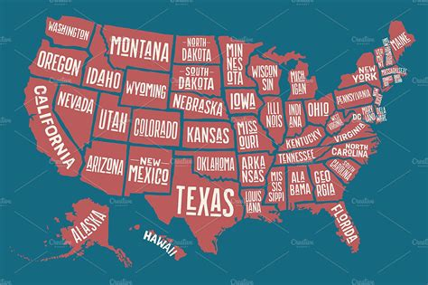 Map of United States of America ~ Illustrations ~ Creative ...