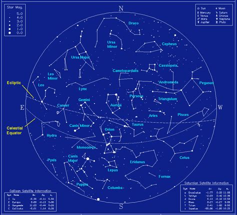 Map of Winter Time Northern Constellations