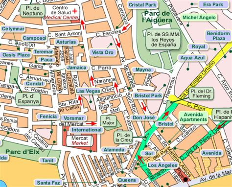 Map showing location of Jeff and Dot's Bar, Benidorm