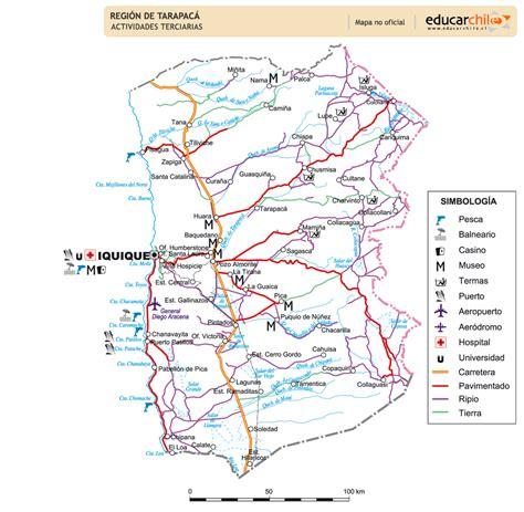 Mapa actividades terciarias Primera Región