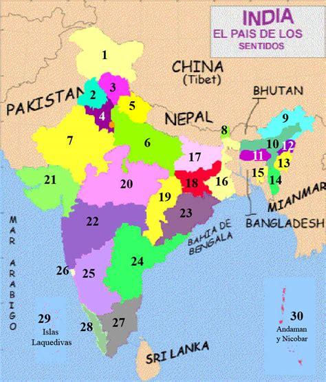 Mapa con las regiones de la India