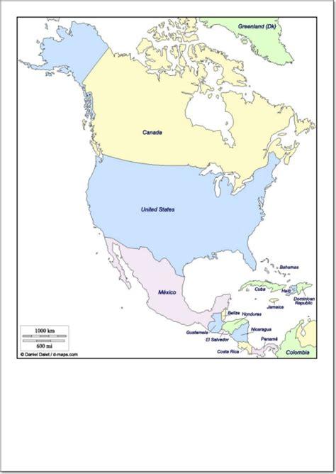 Mapa de america con sus paises y capitales para colorear ...