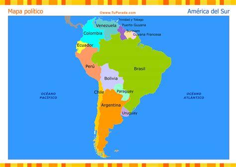Mapa de América del Sur político. Tarjetas postales ...