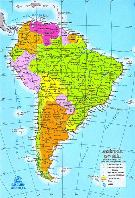 Mapa de América del Sur (Sudamérica) - mapa da América do ...