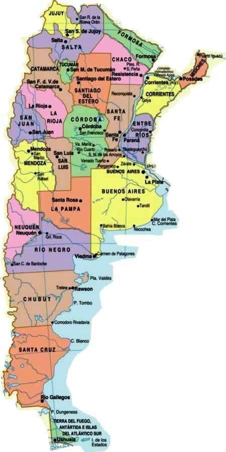 Mapa de argentina con Provincias y Capitales - Mapa de ...