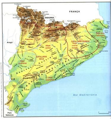 Mapa de Catalunya   Mapa Físico, Geográfico, Político ...