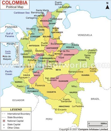 Mapa de colombia con sus capitales y departamentos   Imagui