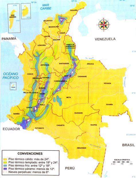 Mapa de Colombia: Distribución de los pisos térmicos ...