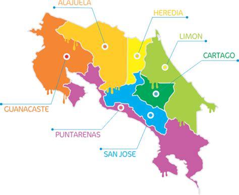 Mapa de costa rica con division de provincias