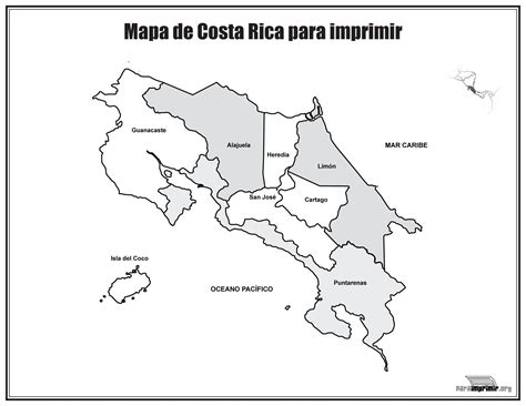 Mapa de Costa Rica con nombres para imprimir   Educación ...