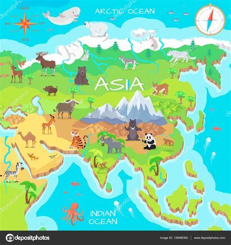 Mapa de dibujos animados de continente Asia con especies ...