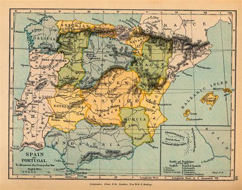 Mapa de España y Portugal, para Ilustrar la Guerra de la ...