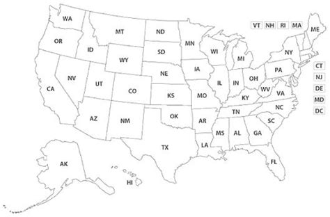 Mapa De Estados Unidos Con Las Iniciales Todos Los P On ...
