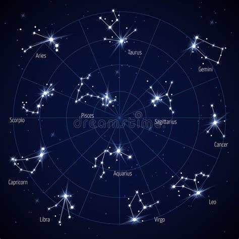 Mapa De Estrella Del Cielo Del Vector Con Las Estrellas De ...