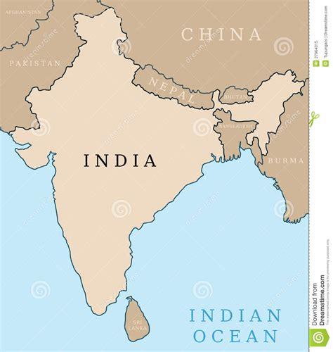 Mapa de la India ilustración del vector. Ilustración de ...