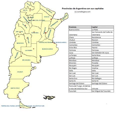 Mapa de las provincias de Argentina y sus capitales (con ...