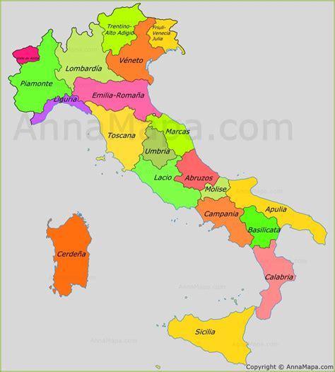 Mapa de las regiones de Italia - AnnaMapa.com