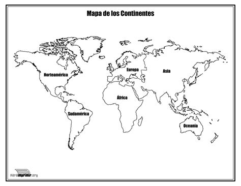 Mapa de los continentes con nombres para colorear y para ...
