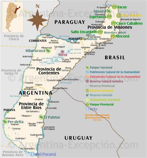 Mapa de los parques y reservas del Litoral, Argentina