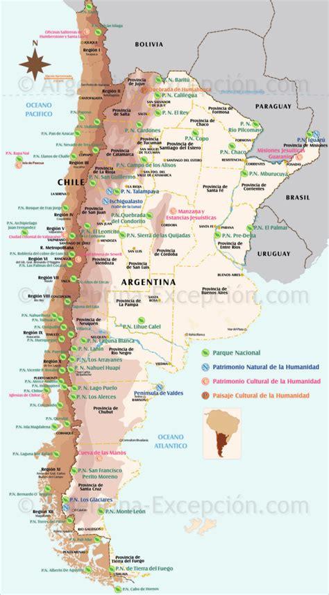 Mapa de los parques y reservas en Argentina