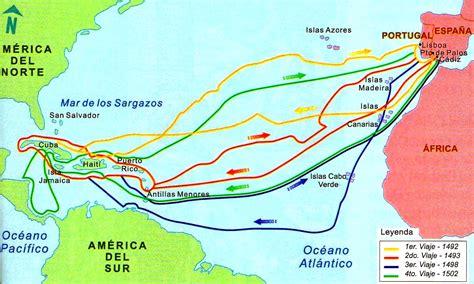 Mapa de los viajes de Cristóbal Colón a América - Mapa de ...