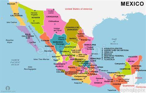 Mapa de México a los estados y capitales de México - mapa ...