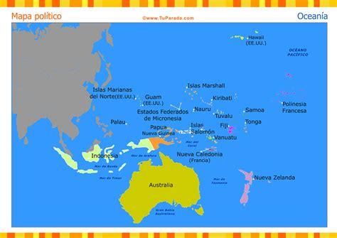 Mapa de Oceanía político - Mapas, tarjetas