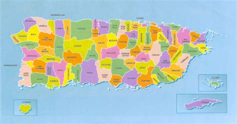 Mapa de puerto rico con los 78 pueblos