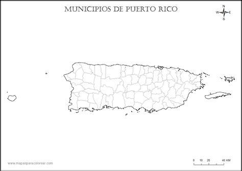 Mapa de puerto rico con sus pueblos para colorear