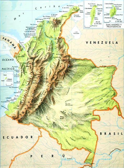 Mapa de relieve de Colombia - Mapa de Colombia