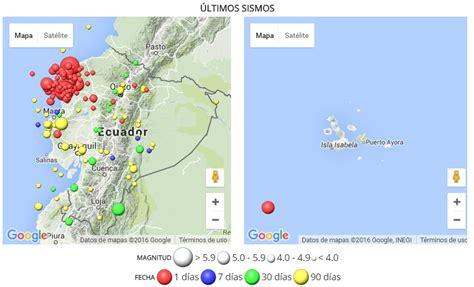 Mapa de sismos - Terremoto en Ecuador