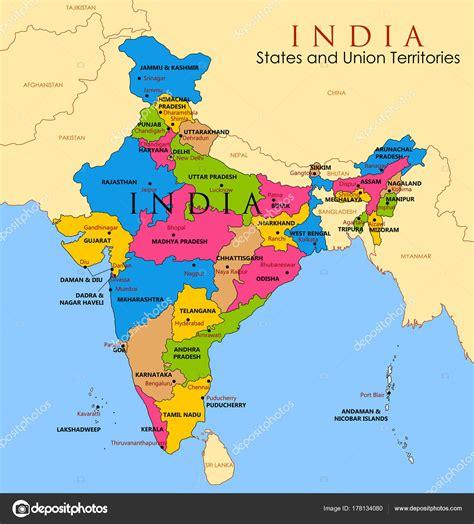 Mapa detalhado da Índia, Ásia com todos os Estados e ...