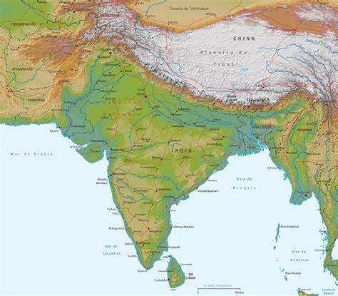 Mapa Físico da Índia e Tibet