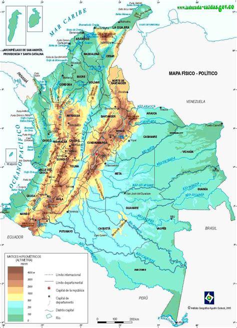 Mapa Físico de Colombia - Mapa de Colombia