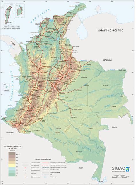 Mapa Físico de Colombia - Tamaño completo