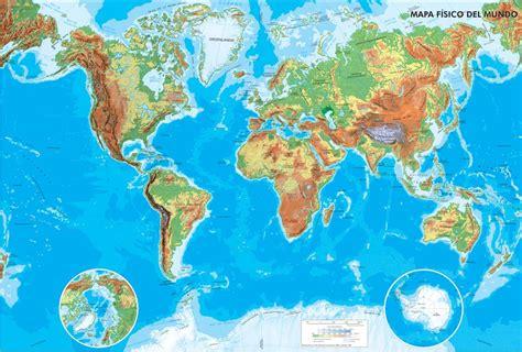 Mapa físico del Mundo Mapa de ríos y montañas del Mundo ...
