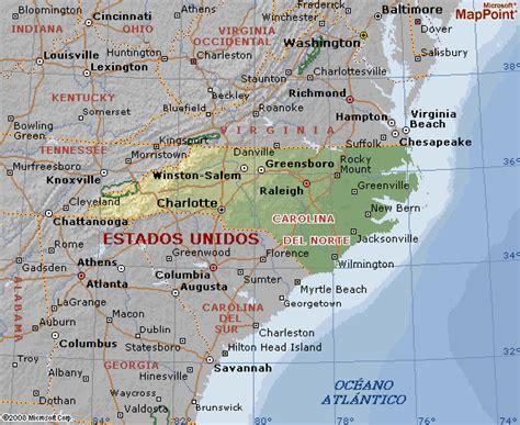 Mapa geografico de Carolina del Norte y su geografia