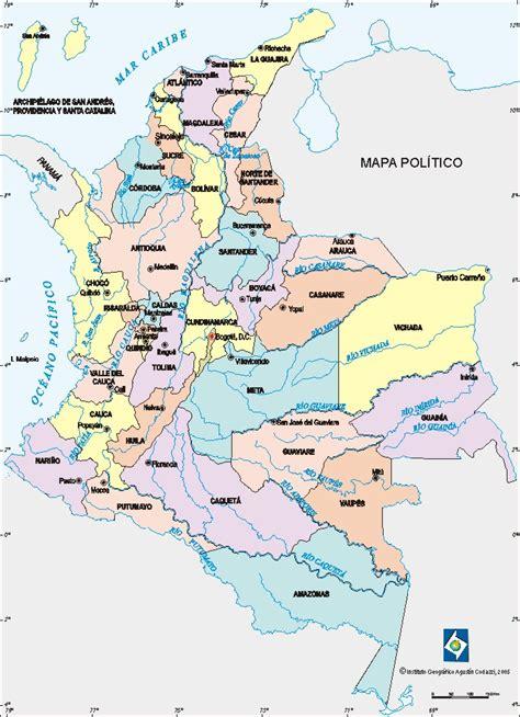 Mapa Geografico De Colombia Con Sus Departamentos