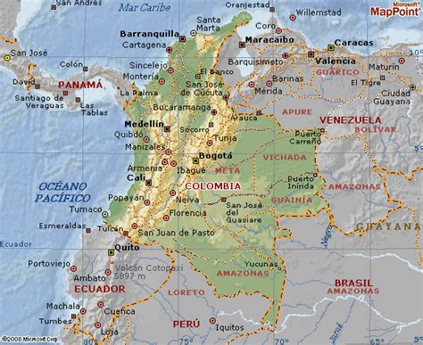 Mapa geográfico de Colombia - Geografia de Colombia