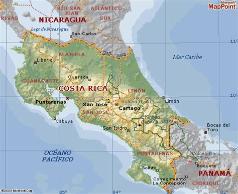Mapa geografico de Costa Rica y su territorio