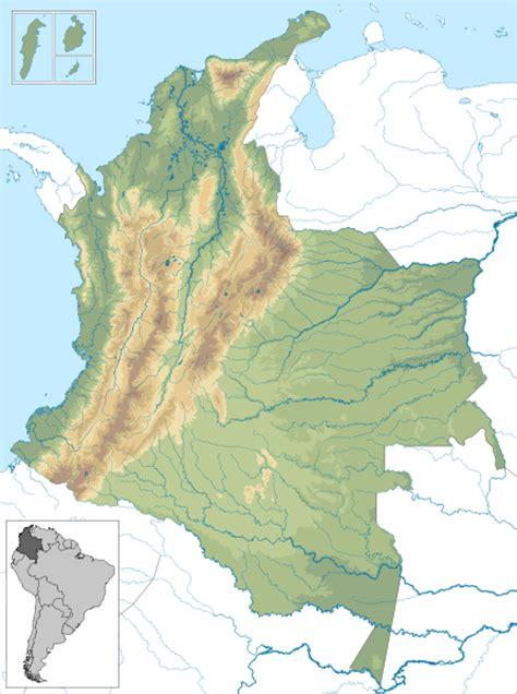 Mapa geográfico mudo de Colombia
