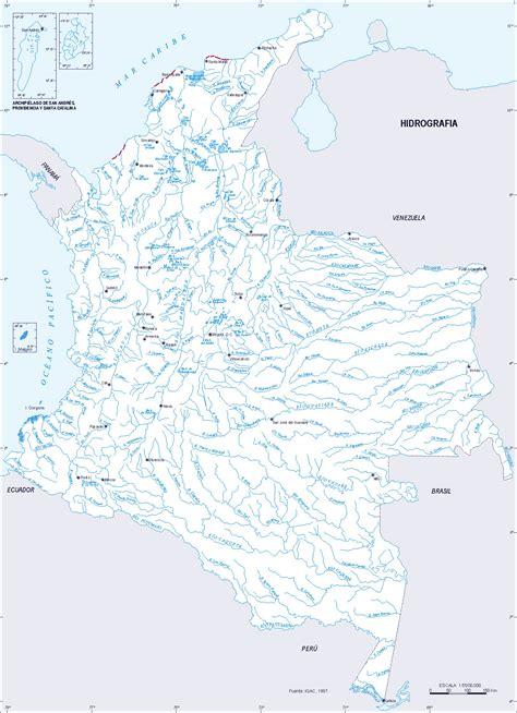 Mapa hidrográfico de Colombia 1997 - Tamaño completo