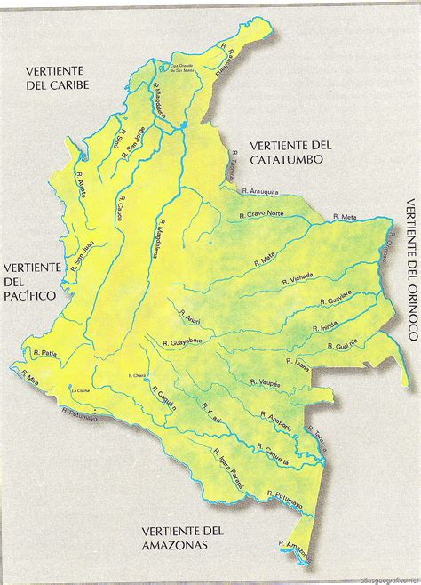 Mapa Hidrografico de Colombia con sus Rios - Atlas geografico
