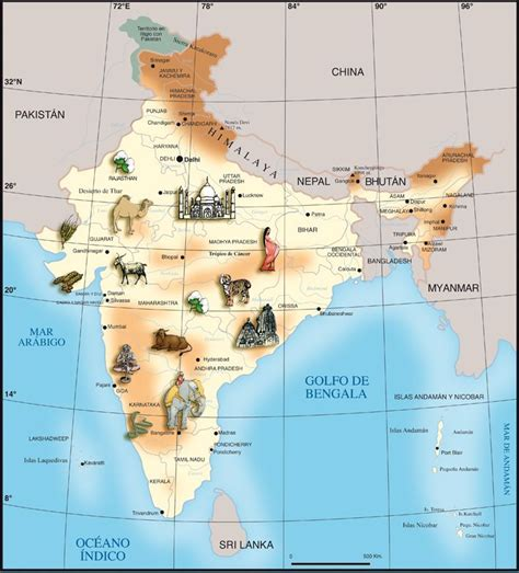 Mapa infantil de La India | Asia--India | Pinterest | India