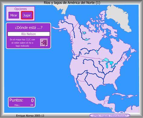 Mapa interactivo de América del Norte Ríos y lagos de ...