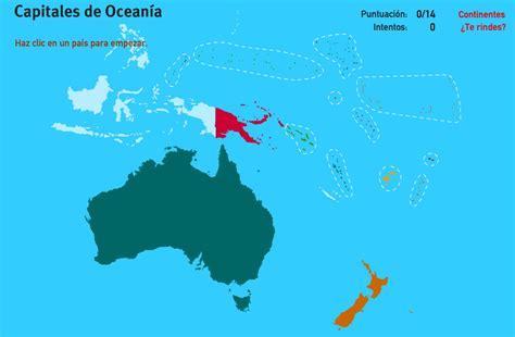 Mapa interactivo de Oceanía Capitales de Oceanía. Juegos ...