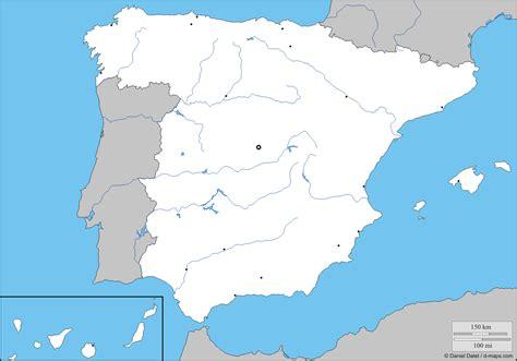 Mapa mudo de rios de España para escolares